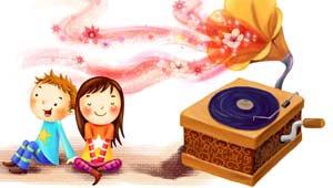 संगीत सुनते बच्चे
