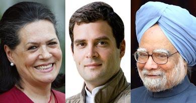 सोनिया गांधी राहुल और मनमोहन सिंह