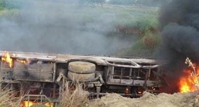 बस में आग दुर्घटना